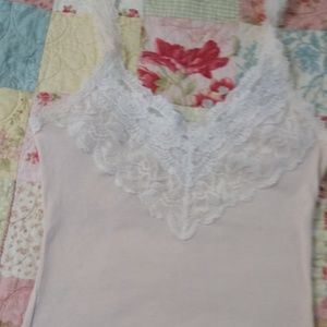 Abercrombie & Fitch Blush Tank with Lace Trim XS